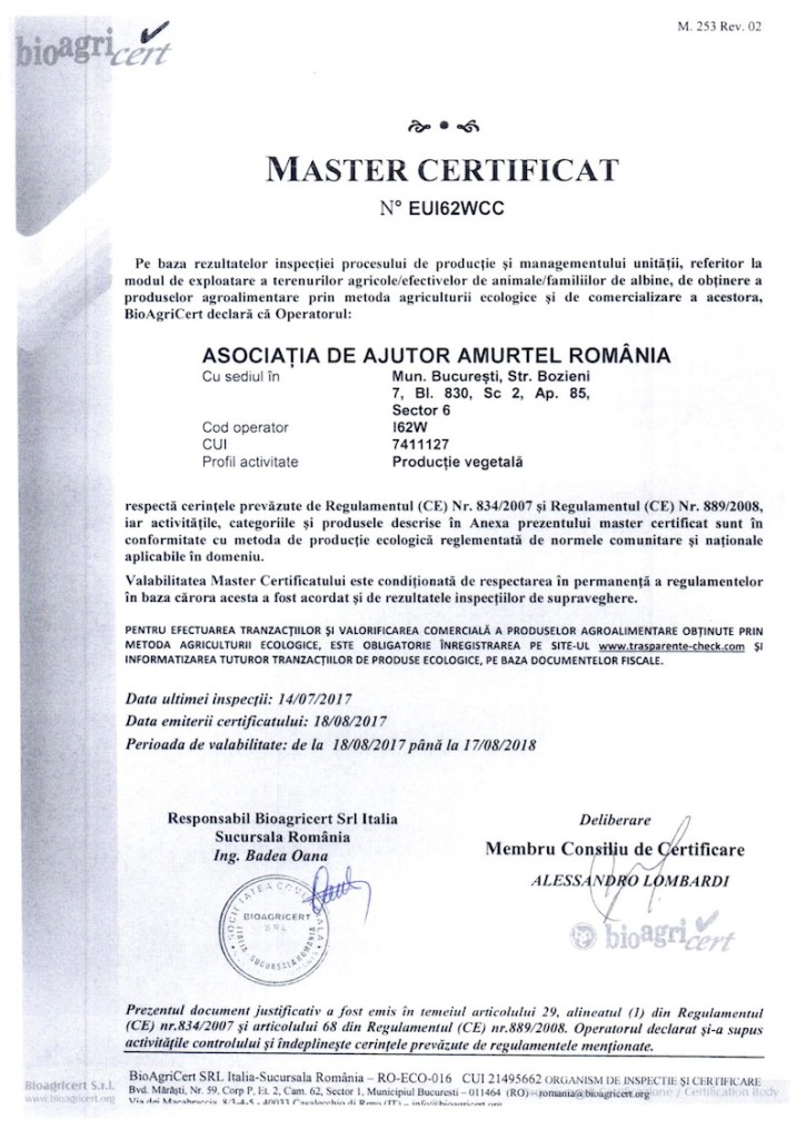 Certificat bio amurtel 2017